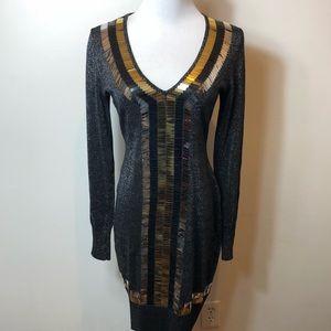 MODA INC . Embellished long sleeve gray dress S